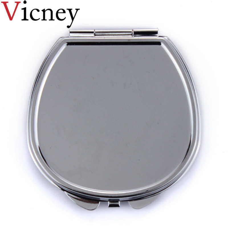 Vicney New arrival women girls Portable Stainless Steel Makeup Mirror Hand Pocket Folded-Side Cosmetic Make Up Double Mirror