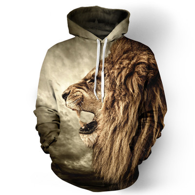 New Fashion Hooded Sweatshirts Men/women 3d Hoodies Print LionThin Casual Hoody harajuku streetwear