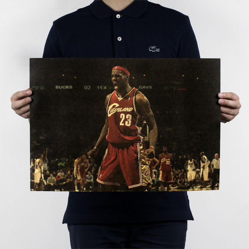 Zs Sticker James B / NBA Basketball Star Inspirational / Kraft Paper Poster 51x35.5cm
