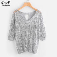 Dotfashion V-neckline Keyhole Back Open Knit Sweater Ladies Grey Half Sleeve Pullovers 2017 Autumn Loose Casual Sweater