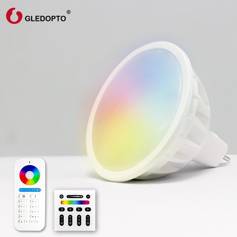 GLEDOPTO2.4G AC/DC 12V 4W RGBW LED MR16 bulb, wifi MR16 spotlight,MR16 light bulb,RGBW GU5.3 ceilijing light Wireless 4-zone led mr16 4w 280 lumen 3500k 4 led warm white light bulb ac 85 265v