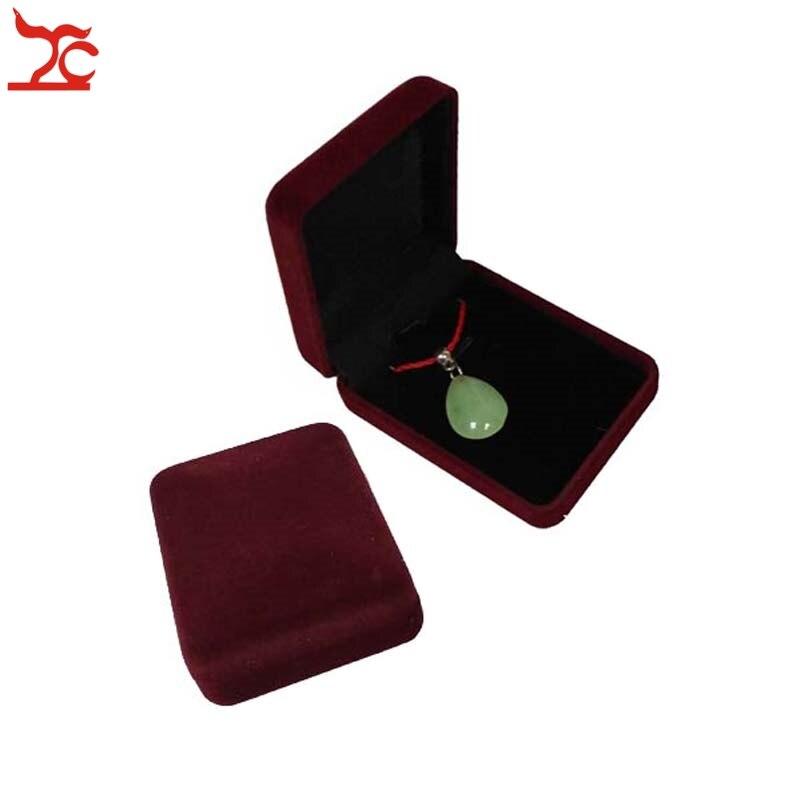 Fashion 12Pcs Dark Red Velvet Jewelry Package Box 7.7*5.7*2.7CM Square Black Insert Stud Earrings Storage Gift Box Necklace Box