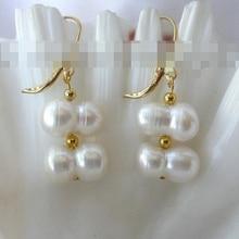 Горячие продают 00251 барокко белый пресной воды перл мотаться серьги