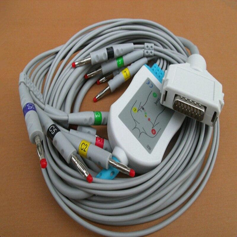 Compatível Para Fukuda Denshi FCP-7411, FX-7402/FX-2111, FX-2155/3010/7010 Cabo De ECG Com Leadwires ECG 10 Leva De Banana 4.0 End IEC