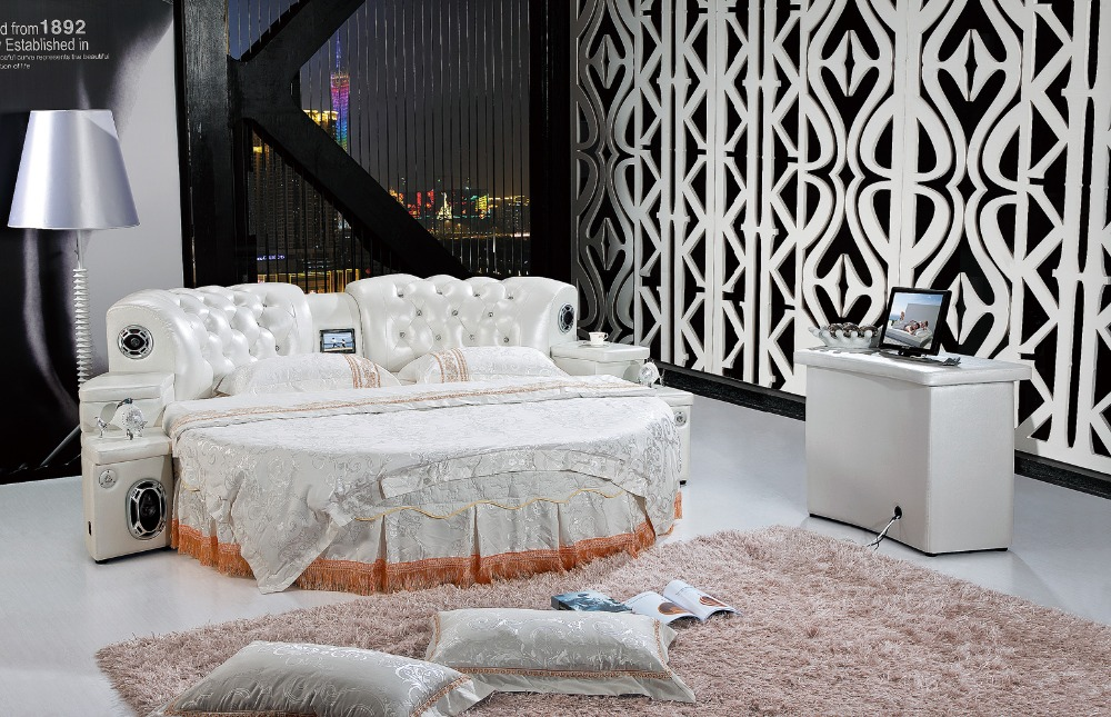 The modern design of the soft leather bed   gold   large double bedroom  furniture. Online Get Cheap Double Bedroom  Aliexpress com   Alibaba Group