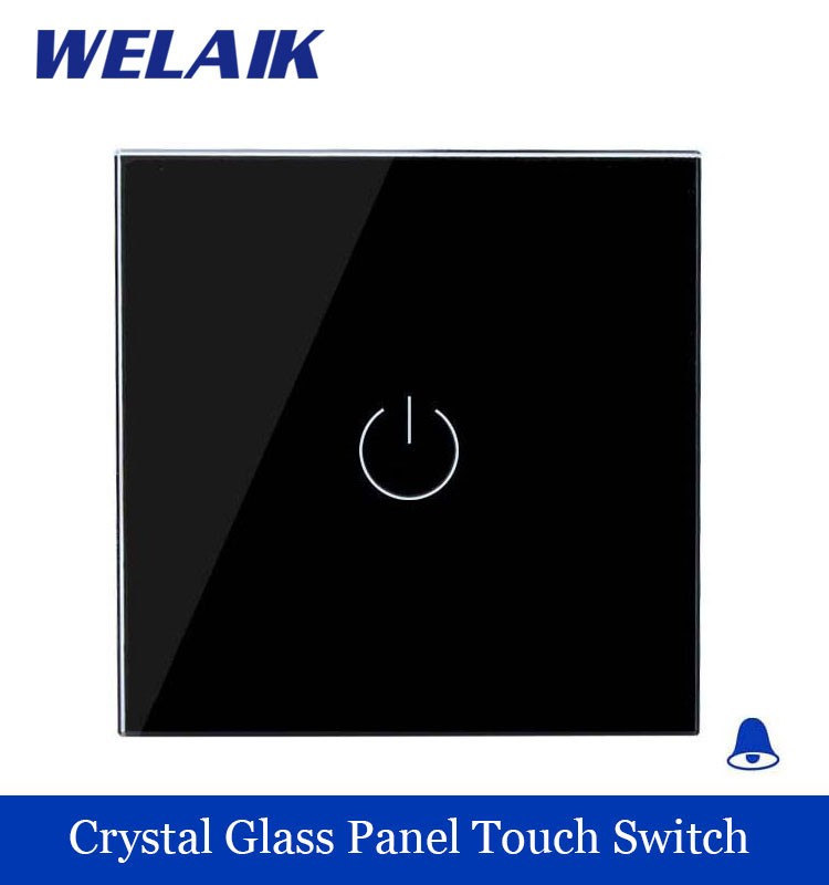 WELAIK Crystal Glass Panel Switch black Wall Switch EU Door Bell Touch Switch  Light Switch 1gang1way AC110~250V A1911MLB smart home us au wall touch switch white crystal glass panel 1 gang 1 way power light wall touch switch used for led waterproof