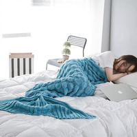 New 2016 Spring Bedding Sofa Mermaid Blanket Wool Knitting Fish Style Little Tail Blankets Warm Sleeping