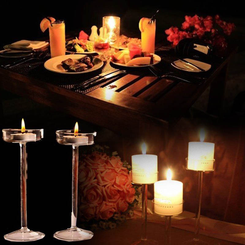 Home & Garden Radient European High Candlestick Glass Candle Holder Romantic Dinner Decoration Xhc88
