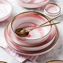 Роскошный розовый керамический поднос с позолоченным краем, Западная пищевая тарелка для стейка, фруктовая миска для еды, блюдо для скандинавских домашних столовых приборов, чаша 10, 8 дюймов