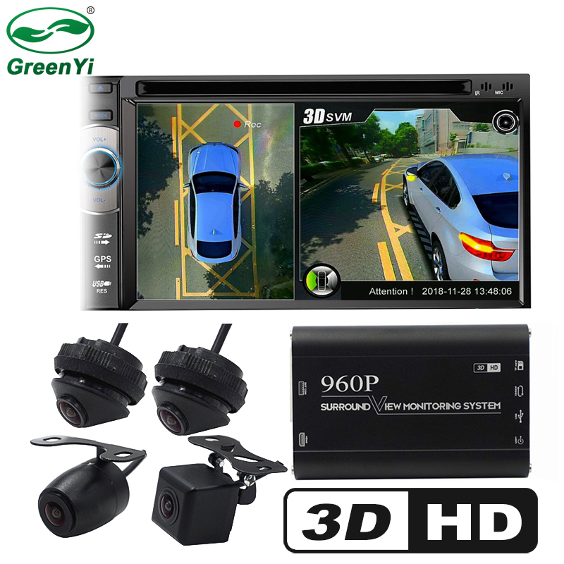 HD 960P 3D 360 Surround View Driving Bird View DVR Recording System With 4 Camera Car