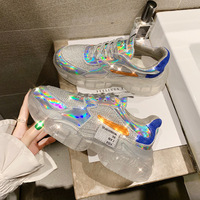 Brand Spring Trend Women Transparent Sneakers Harajuku Ladies Platform Jelly Shoes Laser Casual Shoes Shining Running Footwear