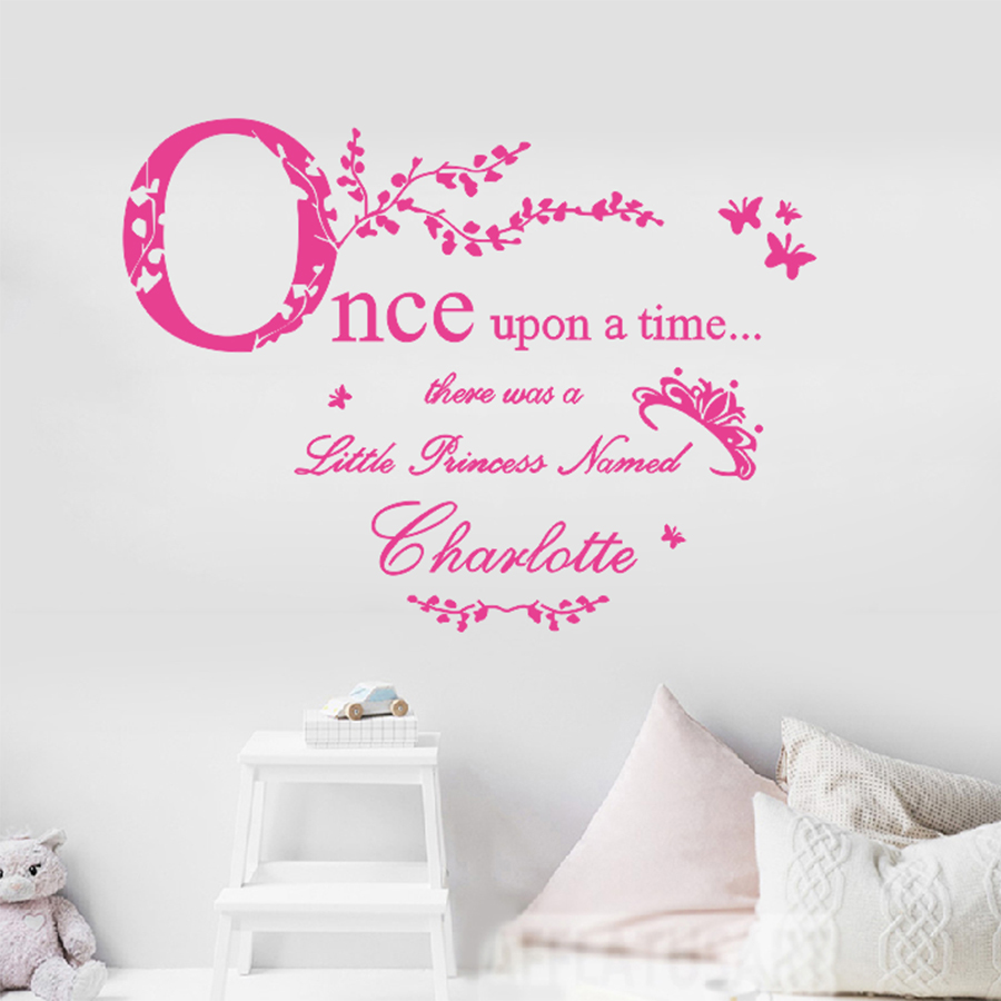ASAPFOR Once Upon A Time Princess Vinyl Wall Stickers Home Decor Personalized Princess Name Decal Baby Room Decoration Wall Art