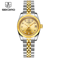 SEKARO Watches Women Stainless Steel Ladies Waterproof Calendar Watch Mechanical Women's Fashion WristWatch Relogio Feminino