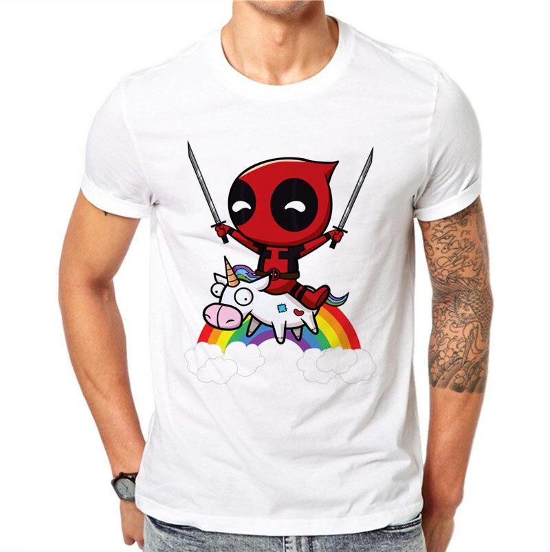 100% Cotton Kawaii Deadpool Printed Men T Shirts Casual Tops Cute T-Shirt Short Sleeve Rainbow White Cartoons Tee O-Neck Tshirt