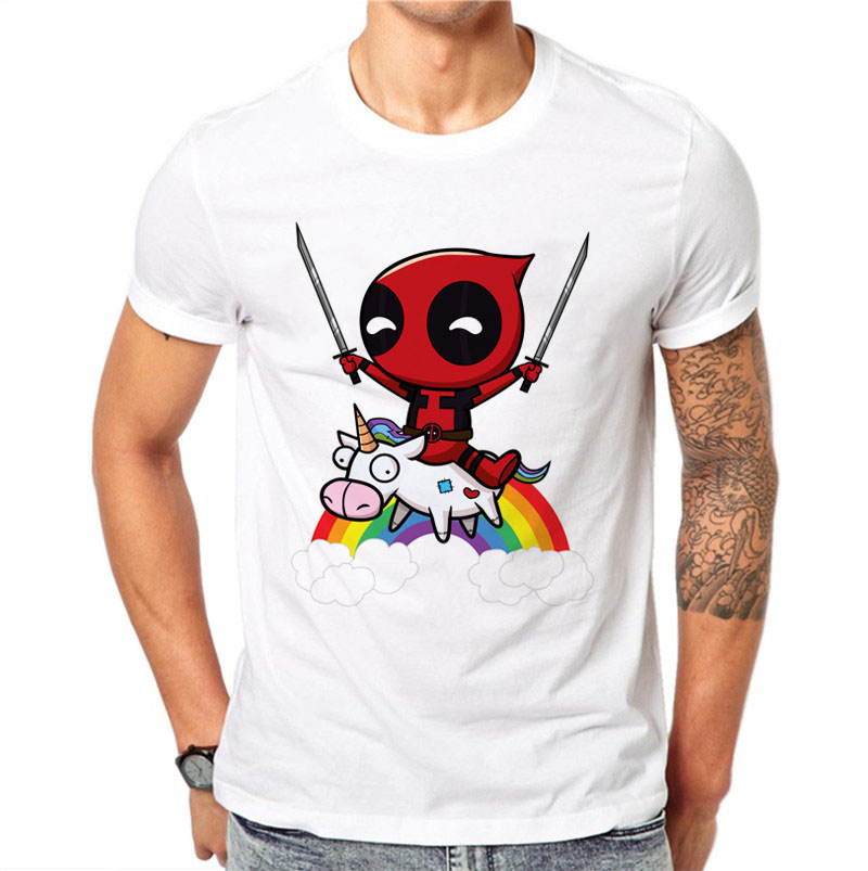 100% Cotton Kawaii Deadpool Printed Men   T     Shirts   Casual Tops Cute   T  -  Shirt   Short Sleeve Rainbow White Cartoons Tee O-Neck Tshirt