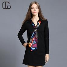 Autumn Winter Women Turn down Collar Cotton Dresses Long Sleeves Lady Elegant Tunic A Line Dress