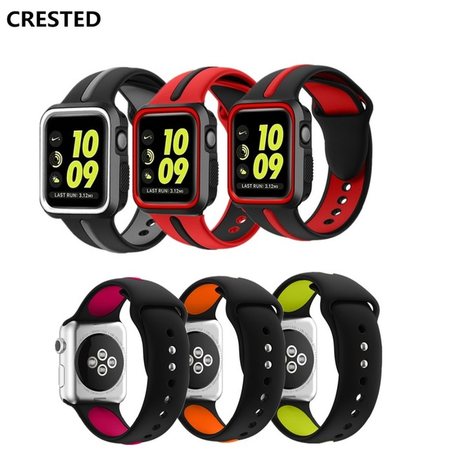 2baf5838765 CRESTED Silicone sport For Apple watch band case 42mm 38mm iwatch strap  series 3 2 1 wrist bands bracelet belt Protective cover