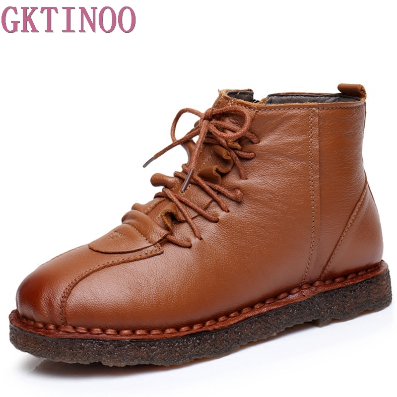 2017 Fashion Handmade Boots For Women Ankle Shoes Vintage Mom Shoes Flat Lace-up Genuine Leather Women Boots front lace up casual ankle boots autumn vintage brown new booties flat genuine leather suede shoes round toe fall female fashion