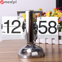 Novelty Table Watch Clock Retro Vintage Auto Flip Down Internal Gear Operated Single Scale Stand Clocks Best Gifts