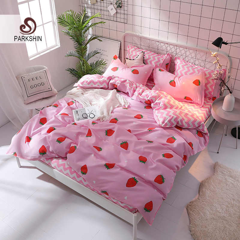 ParkShin Pink Strawberry Bedding Set Bed Linen Nordic Striped Bed Sheet Bedspread Duvet Cover Set Decor Home Textiles Double