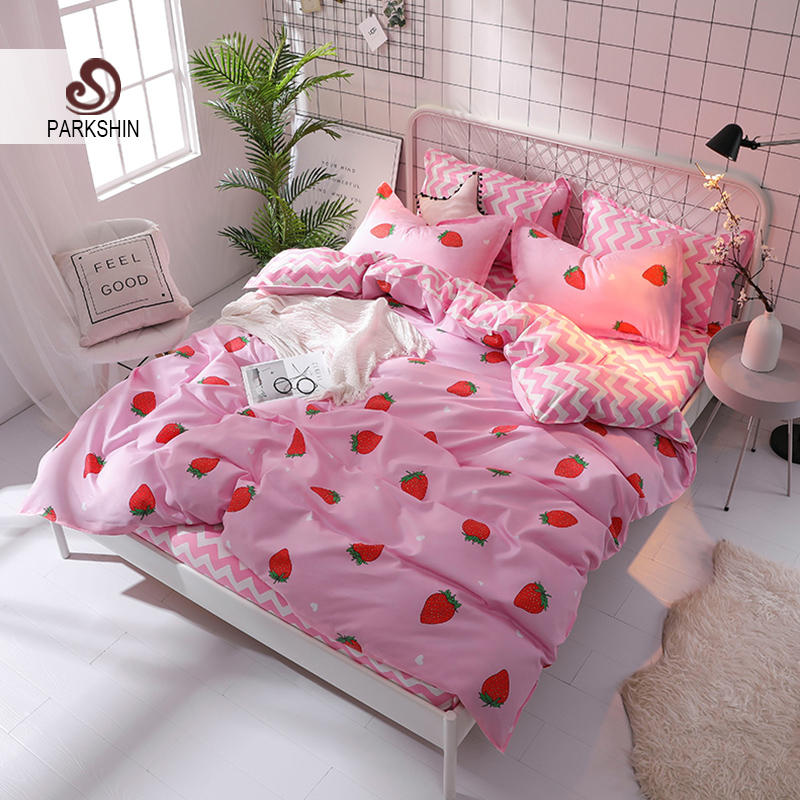 ParkShin Pink Strawberry Bedding Set Bed Linen Nordic Striped Bed Sheet Bedspread Duvet Cover Set Decor Home Textiles Double