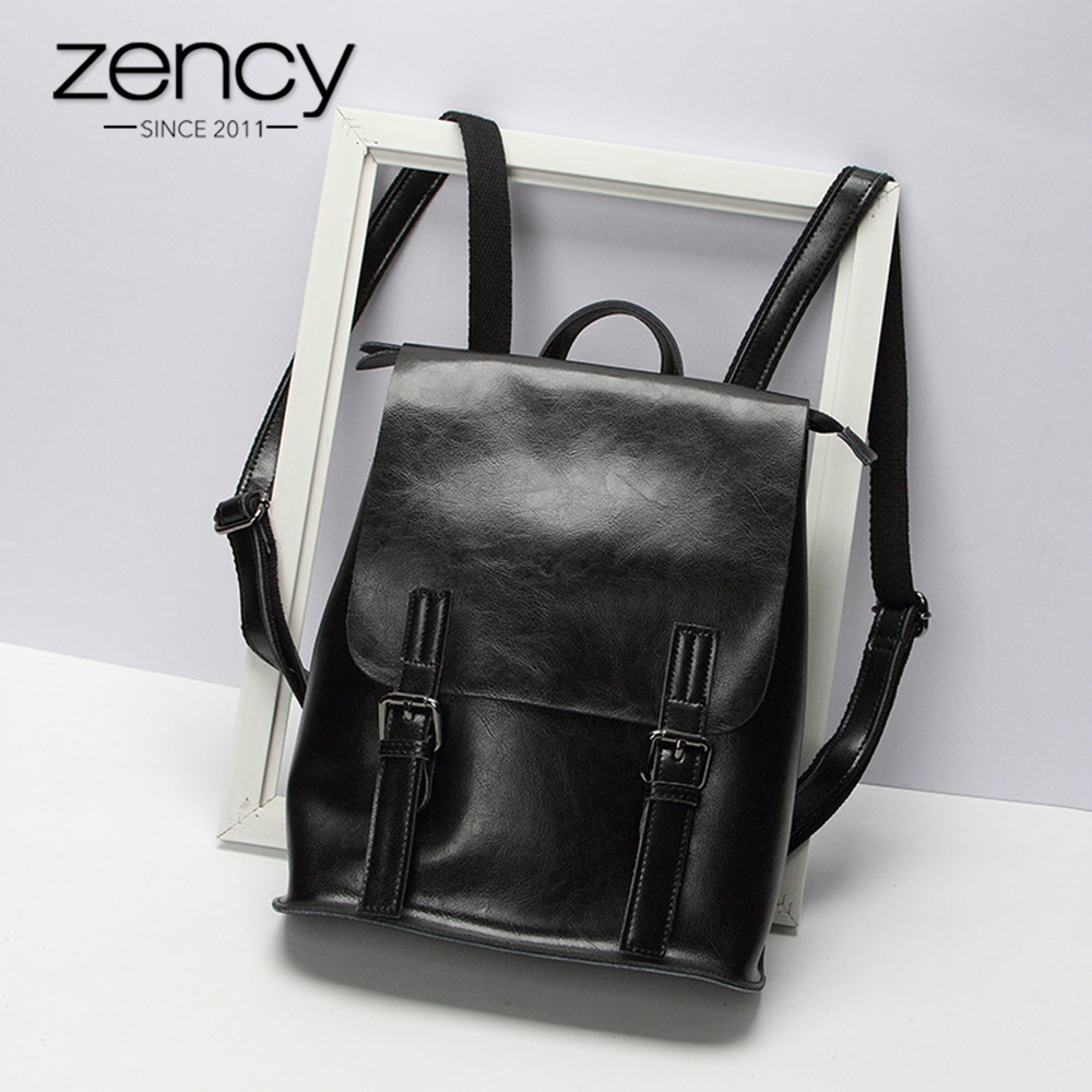 Zency 100% Genuine Leather Women Backpack Fashion Brown Daily Holiday Knapsack Notebook Schoolbag For Girls Travel Bag Black