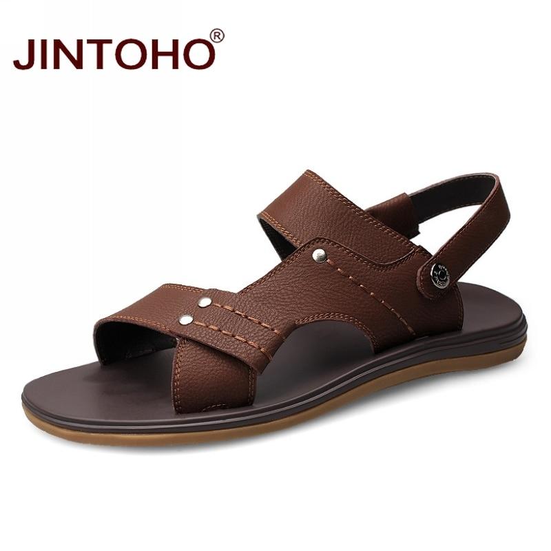 JINTOHO Summer Men Genuine Leather Sandals Fashion Flat Sandals For Men Summer Beach Sandals Shoes Fashion Casual Male Sandal