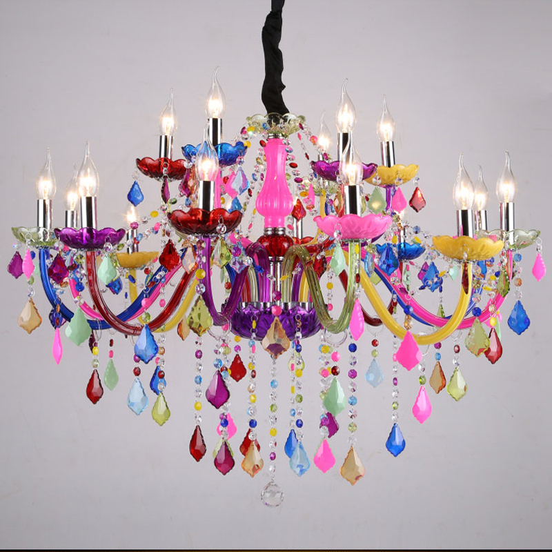 Ժամանակակից ջահեր LED Crystal Lighting Bohemia Colorful Chandelier lustres de cristal Decorative Lamps կախազարդ ճրագ