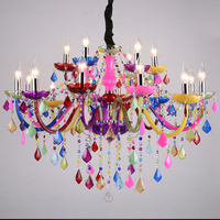 LED Crystal Chandelier Lighting Bohemia Colorful Crystal Chandelier Lustres De Cristal Decorative Lamps Tiffany Pendant Lamp