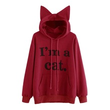 Harajuku Kawaii Cat Ear Cap Hoodies I AM A CAT Printed Hoodie Sweatshirts Women Fashion Casual Pockets Long Sleeve Pullover Tops i am a cat plaid insert sweatshirt