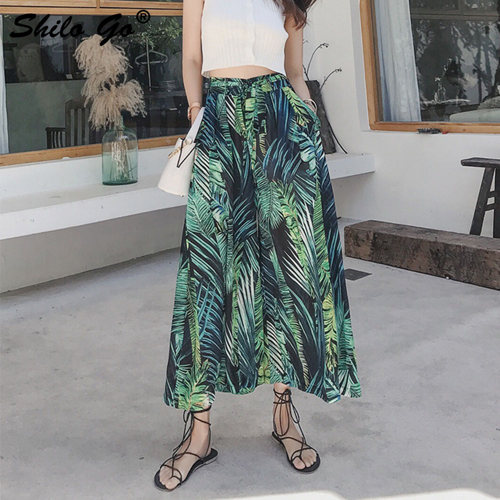 Boho Print high waist wide leg   pants   Women trousers pleated casual   pants   female beach summer ladies   pants     capris   green black