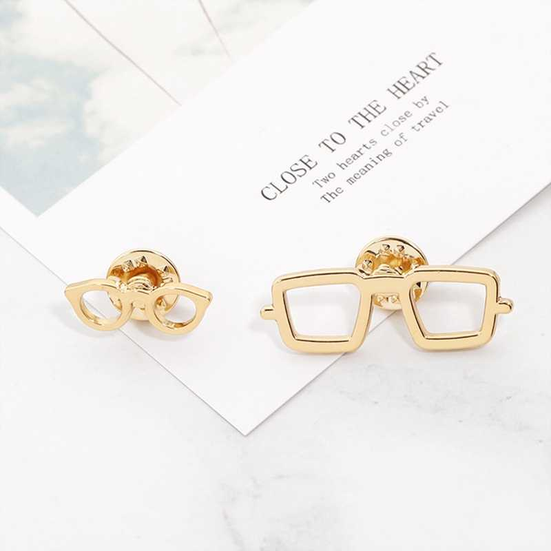 Модные мужские Броши золотого цвета очки в круглой оправе стиль большой маленький размер персональный подарок модные аксессуары 1 шт