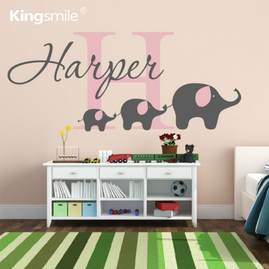 Elephant Family Wall Sticker Personalized Name Initial Monogram Nursery Decals Vinyl Stickers For Baby Kids Rooms Home Decor