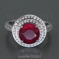 Jewelry Sets Vintage Solid 14Kt White Gold 3 31ct Diamond Round Natural Ruby Wedding Ring