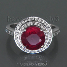 Natural Red Ruby Engagement Rings For Women, 14k White Gold Ruby Ring Wedding Anniversary Gift , Genuine Ruby Jewelry For Sale