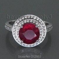 Natural Vermelho Rubi Anéis de Noivado Para As Mulheres, 14 k Anel De Rubi Ouro Branco Presente de Aniversário de Casamento, genuína Jóias de Rubi Para Venda