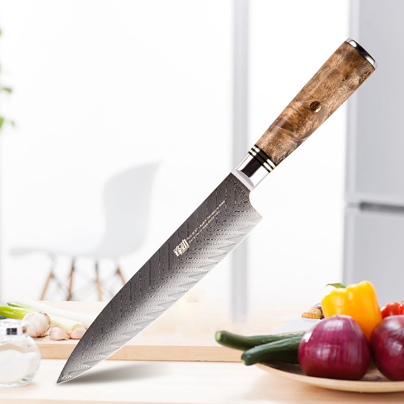 New AUS 10 damascus steel Sapele wood handle arrow pattern damascus knife 8 inch chef knife