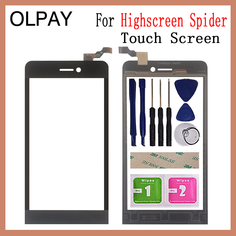 OLPYA 5.0'' Mobile Phone For Highscreen Spider Touch Screen Digitizer Panel Front Glass Lens Sensor Free Tools Adhesive+Wipes