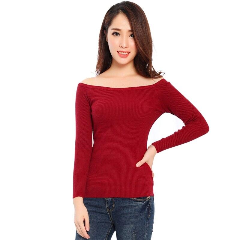 2020 Autumn Winter Basic Women Sweater Slit Neckline Strapless Sweater Thickening Sweaters Top Thread Slim W12