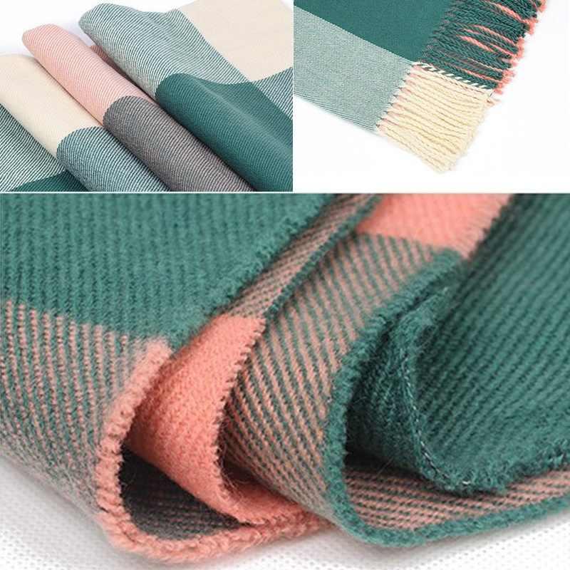 Venda quente Grande Borla Inverno Cachecol Xadrez Grosso Envoltório Xales de Lã Artificial para Acessórios de Moda Feminina Roupas de Inverno