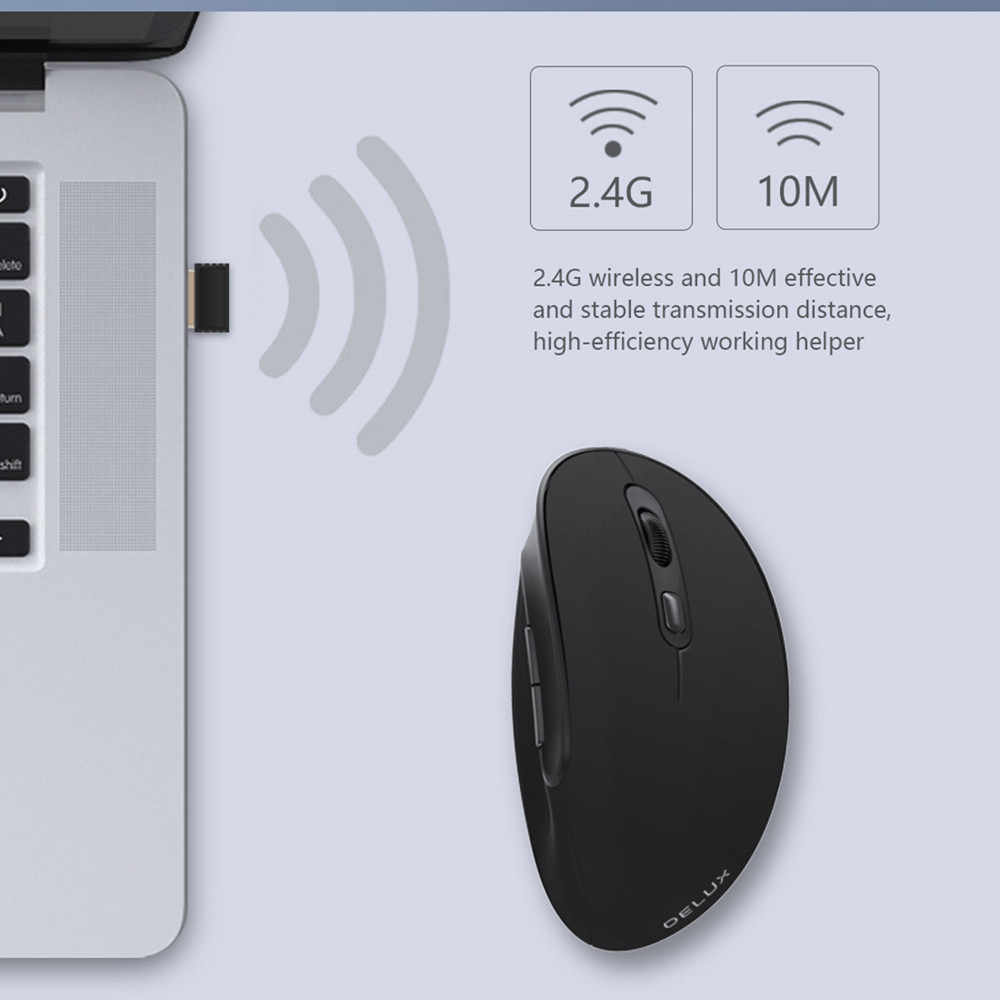 Delux M618SE 2.4G Mouse Nirkabel Ergonomis Vertikal Mouse Gaming 6 Tombol 1600 DPI Optical Komputer Kantor untuk PC laptop