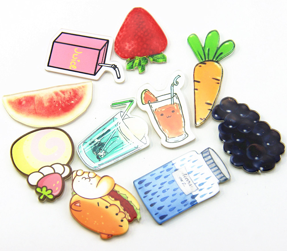 1pcs New arrival Cartoon Badges Creative fruit drink Acrylic Badges Backpack Icons clothes Brooch home Decor pin Badge hot sale