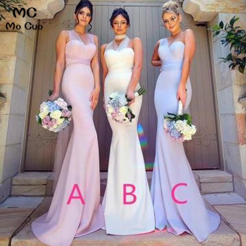 2019 Mermaid   Bridesmaid     Dresses   Long with ABC Design V neck Formal Wedding Party   Dress   Elastic Satin Women   Bridesmaid     Dress