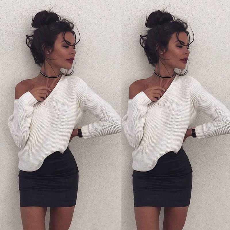 New 2017 Women Long Sleeve Knitted V neck Pullover Loose Tops Sweater Casual Solid White Jumper Coat