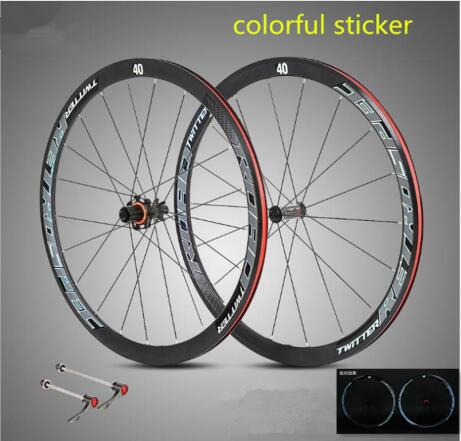 ultra-light aluminum alloy 700C road bike wheelset 40mm rim sealed bearing carbon fiber hub colorful reflective wheel setultra-light aluminum alloy 700C road bike wheelset 40mm rim sealed bearing carbon fiber hub colorful reflective wheel set