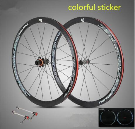 ultra-light aluminum alloy 700C road bike wheelset 40mm rim sealed bearing carbon fiber hub colorful reflective wheel set