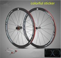 ultra light aluminum alloy 700C road bike wheelset 40mm rim sealed bearing carbon fiber hub colorful reflective wheel set