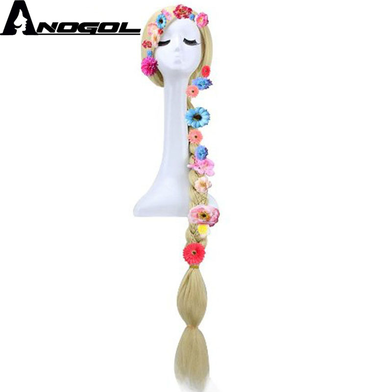 Anogol Long Straight Braided Blonde Synthetic Hair Tangled With Six Flowers Random Color Cosplay Costume Wigs For Halloween