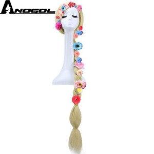 Image 3 - Anogol متشابكة الأميرة رابونزيل طويل مستقيم مضفر شقراء الشعر الاصطناعية ستة الزهور تأثيري حلي الباروكات ل هالوين
