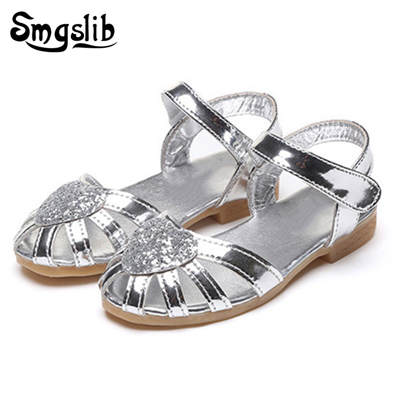 Girls Shoes Summer Kids Flat Heels Sandals Leather Wedding Princess Dress Up Party